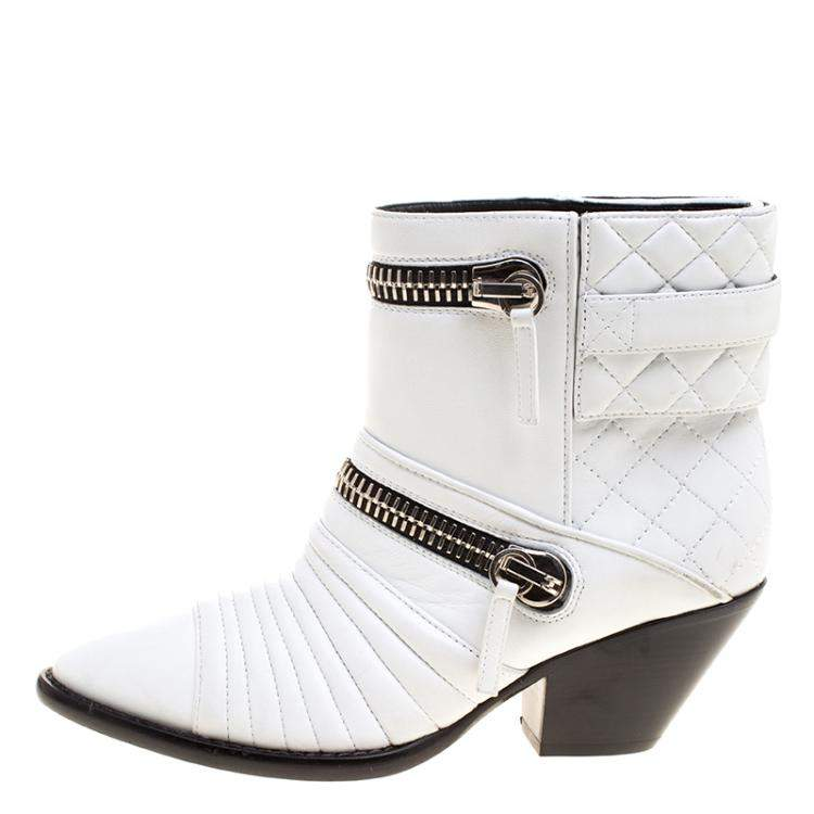 Giuseppe Zanotti White Quilted Leather Ankle Boots Size 38