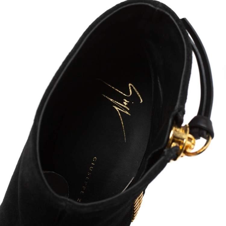 Giuseppe Zanotti Black Suede Side Zip Ankle  Boots Size 37