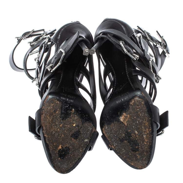 Giuseppe Zanotti Black Leather Gladiator Sandals Size 38