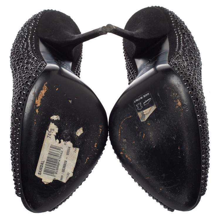Giuseppe Zanotti Black Suede Nika Crystal Embellished Peep Toe Pumps Size 38