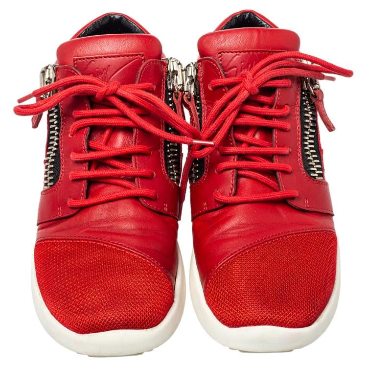 Giuseppe Zanotti Red Leather And Mesh Megatron Lace Up Sneakers Size 37