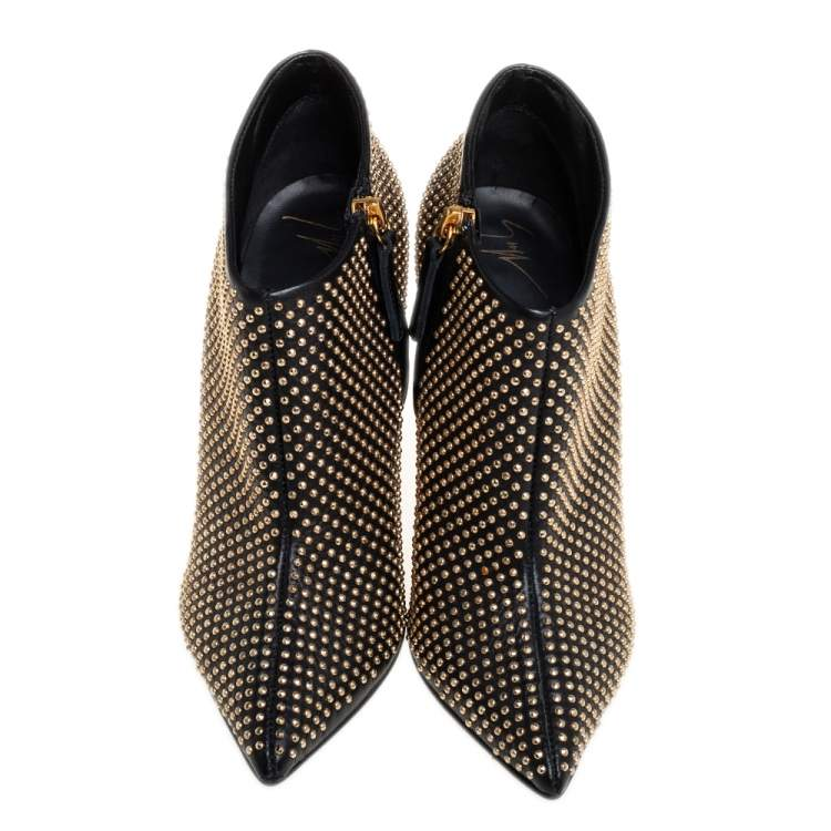 Giuseppe Zanotti Black/Gold Studded Leather Ankle Length Booties Size 38.5