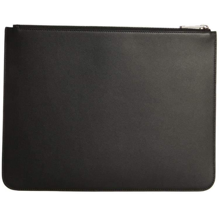 Givenchy Black Leather Logo Large Pouch