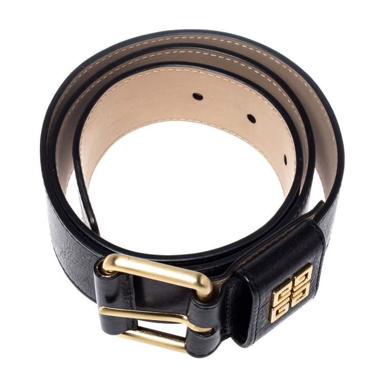 Givenchy Black Crinkled Leather Belt 80CM