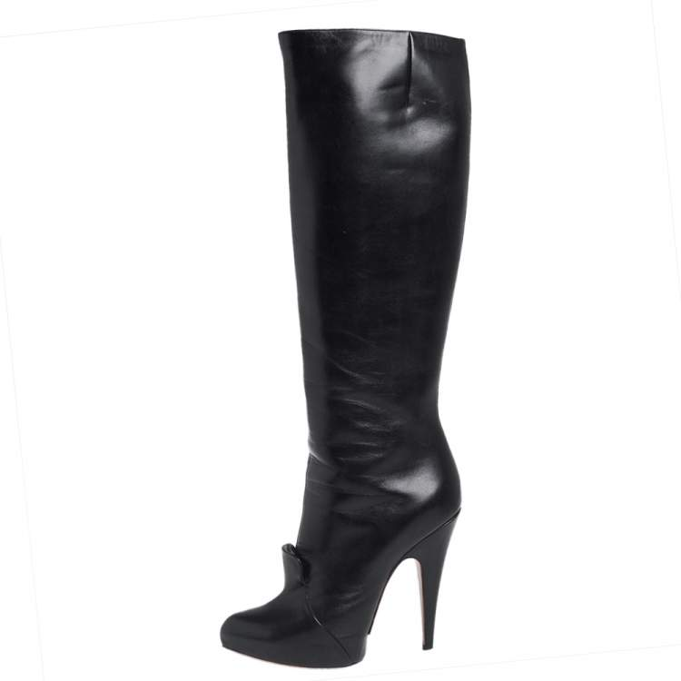 Givenchy Black Leather Knee Length Boots Size 39