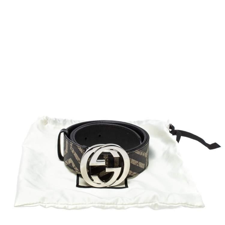 Gucci Beige/Black GG Caleido Supreme Canvas Interlocking G Buckle Belt 85 CM