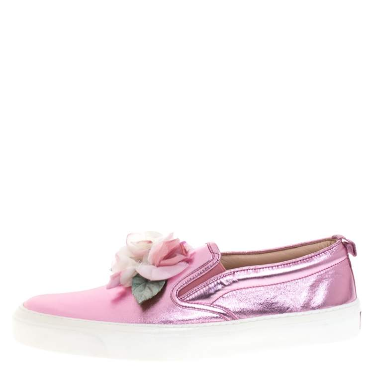 Gucci Pink Foil Leather Flower Slip On Sneakers Size 40
