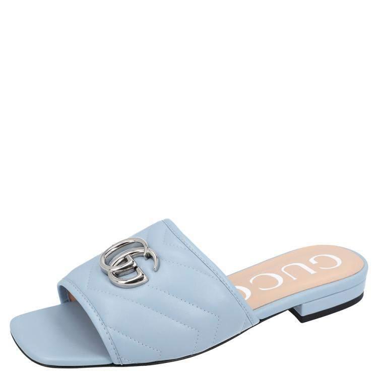 Gucci Light Blue Leather Double G Slide Sandal Size 36