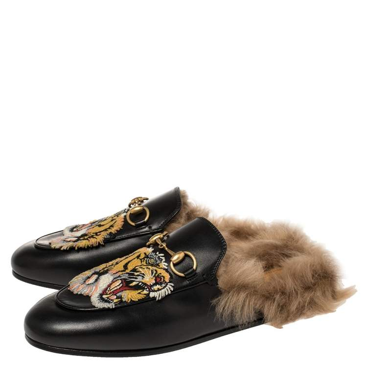 Gucci Black Tiger Embroidered Leather and Fur Lined Princetown Flat Mules Size 36.5