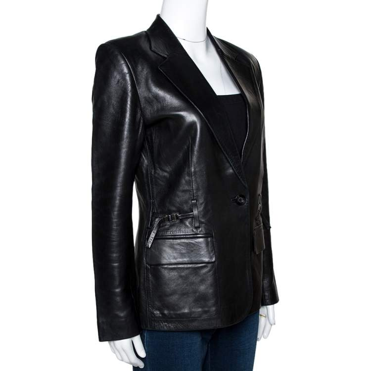 Gucci Black Leather One Buttoned Blazer S