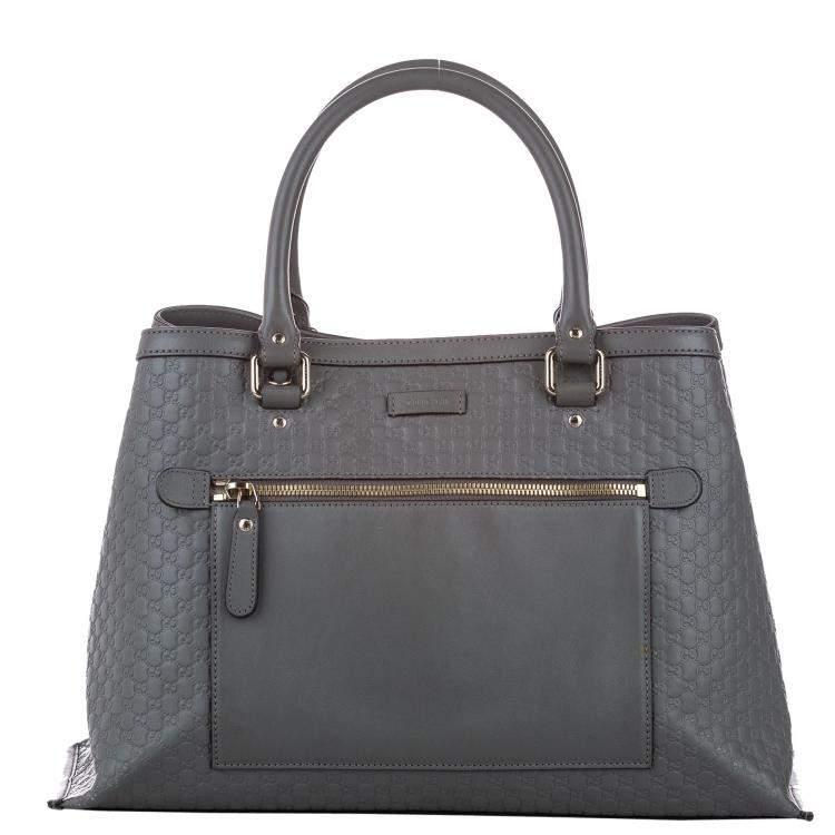 Gucci Grey Microguccissima Leather Satchel Bag
