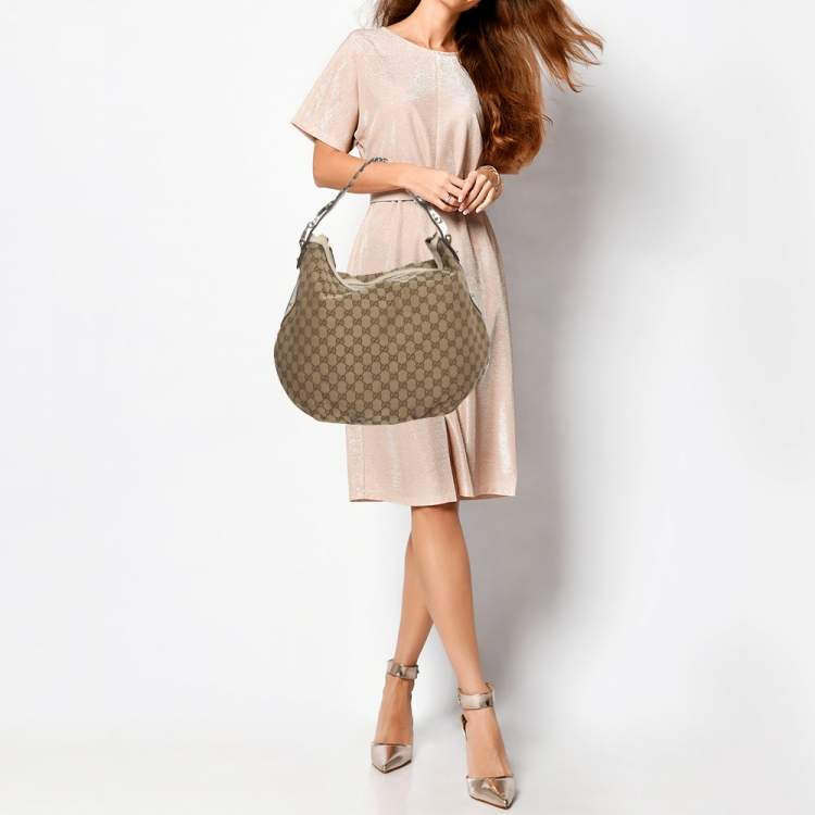 Gucci Beige GG Canvas and Leather Pelham Hobo