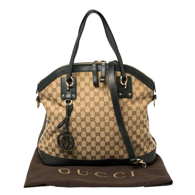 Gucci Beige/Deep Green GG Canvas and Leather Large Charm Dome Satchel
