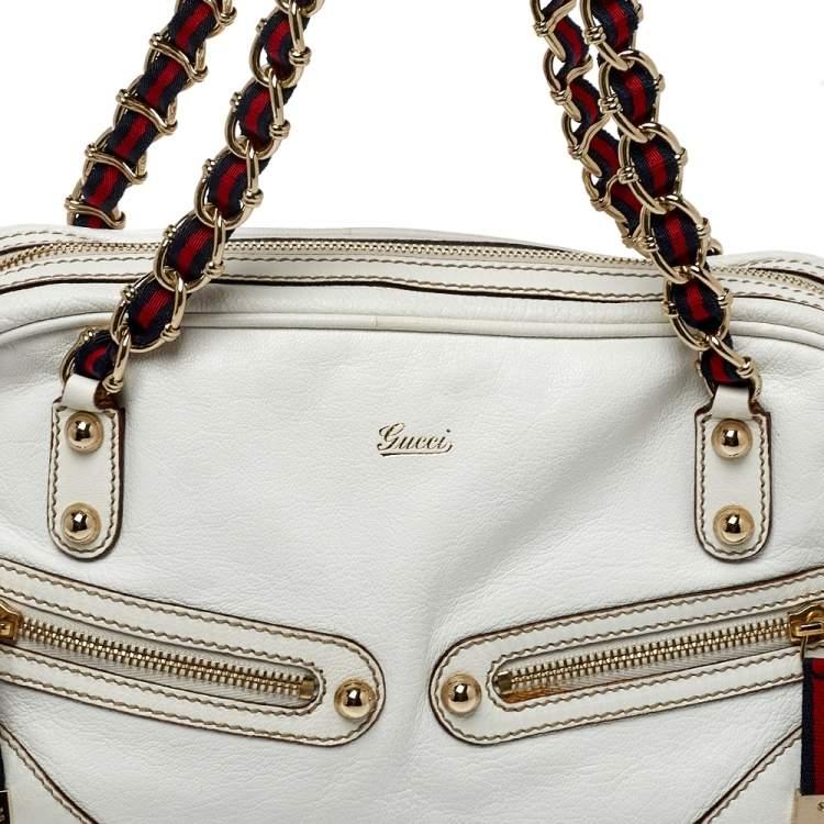 Gucci White Leather Capri Chain Zip Shoulder Bag