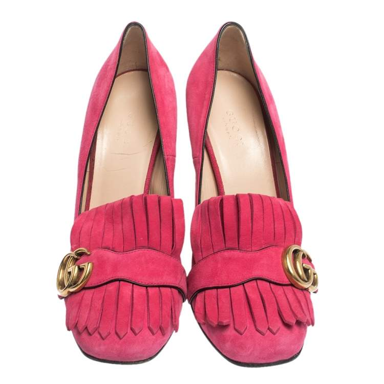 Gucci Pink Suede Leather GG Marmont Fringe Detail Block Heel Pumps Size 38