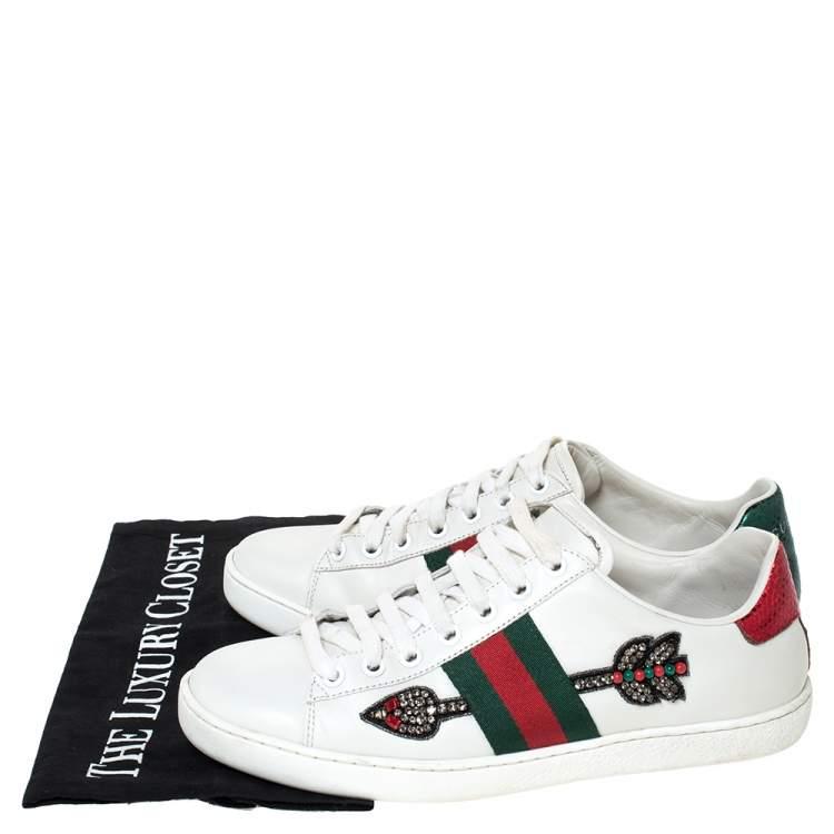 Gucci White Leather Ace Arrow Appliqué