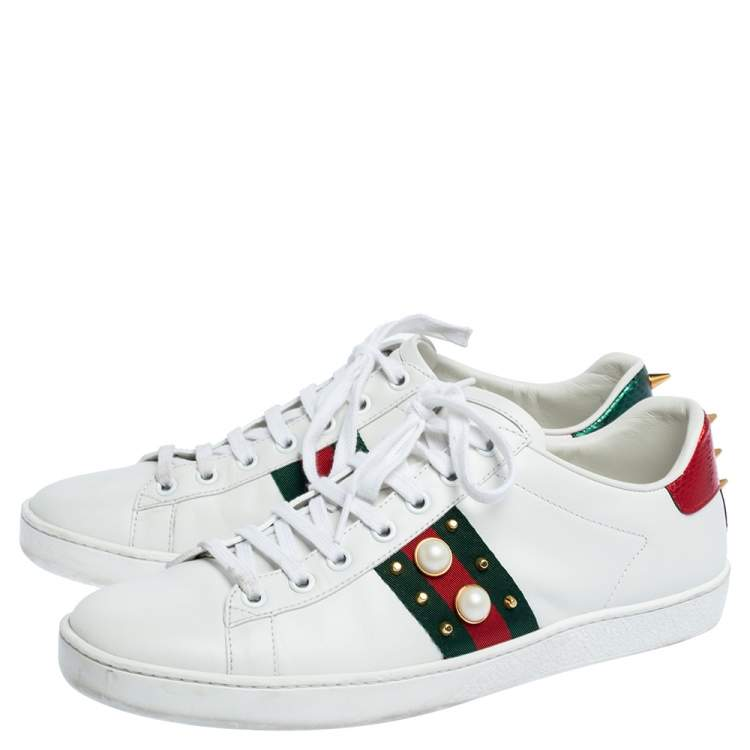 Gucci White Leather Web Detail New Ace