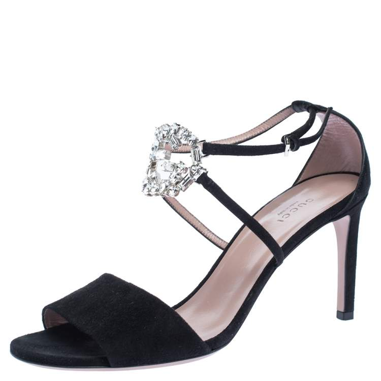 Gucci Black Suede Leather Crystal