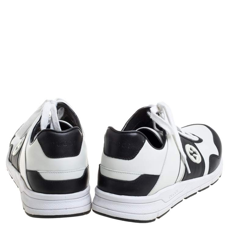 Gucci Black/White Leather Miro Sneakers Size 40.5