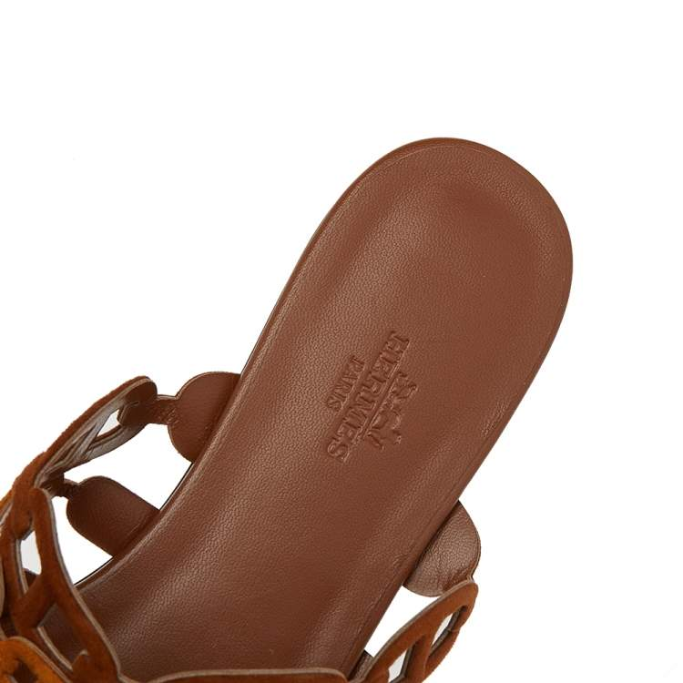 Hermes Brown Suede D'ancre Chaine Flat Slide Sandals Size 38
