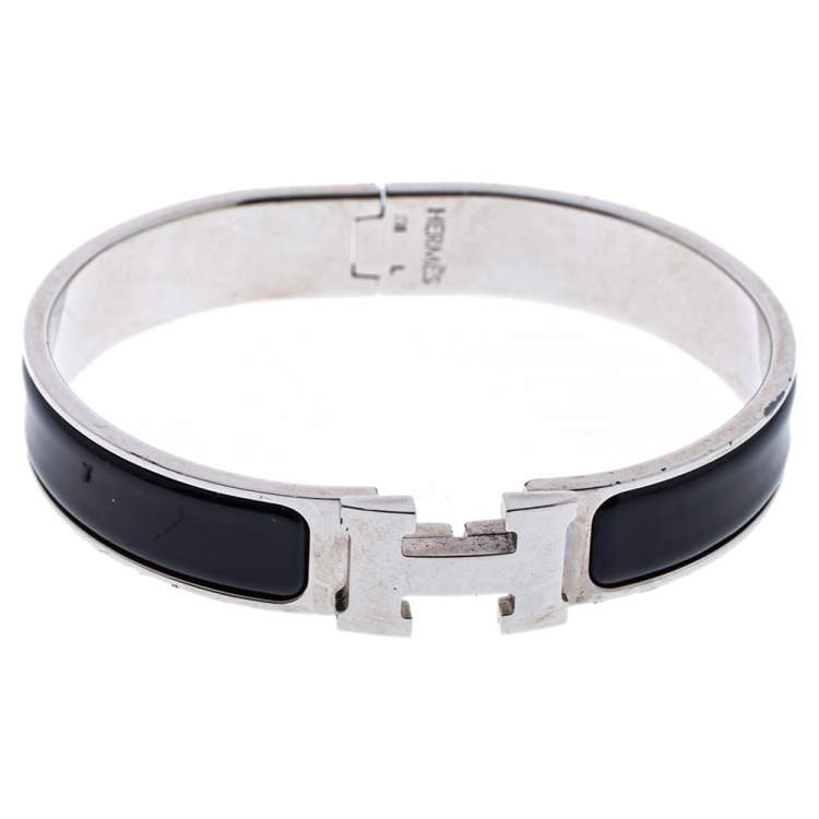 Hermès Clic H Black Enamel Palladium Plated Narrow Bracelet GM