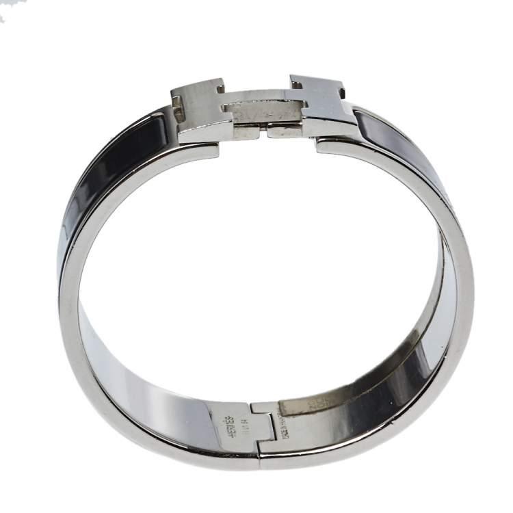 Hermès Clic Clac H Black Enamel Palladium Plated Wide Bracelet PM