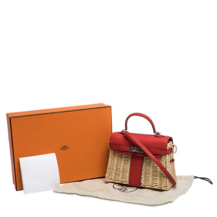 Hermes Rouge Swift Leather and Osier Palladium Hardware Picnic Mini Kelly Bag