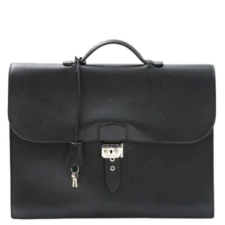 Hermes Black Leather Ardennes Sac a Depeches 38 Briefcase Bag