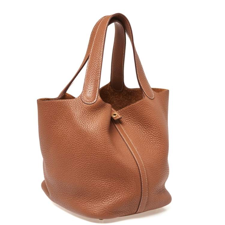 Hermes Gold Clemence Leather Gold Hardware Picotin Lock 22 Bag