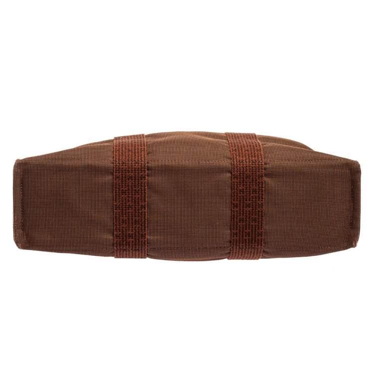 Hermes Brown Canvas Herline GM Tote Bag