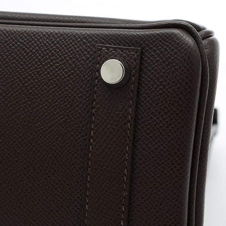 Hermes Brown Epsom Leather Palladium Hardware Birkin 25 Bag