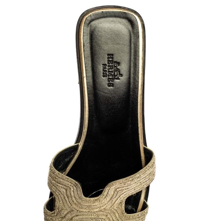 Hermes Metallic Pale Gold Twisted Metal Thread Oran Sandals Size 39