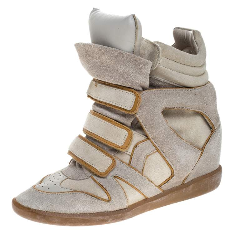 Isabel Marant Grey/Brown Suede And Leather Bekett Wedge Sneakers Size 40