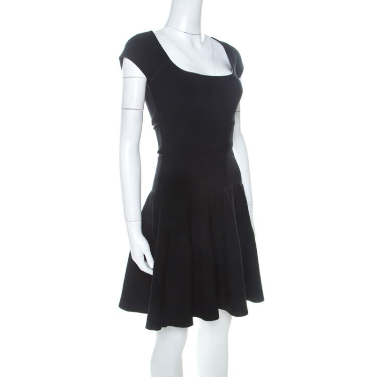 Issa Black Ribbed Cap Sleeve Short Dress S
