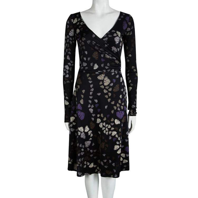 Issa London Black Butterfly Printed Silk Wrap Dress S