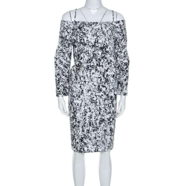 Jil Sander Monochrome Cotton Off Soulder Risiko Dress L