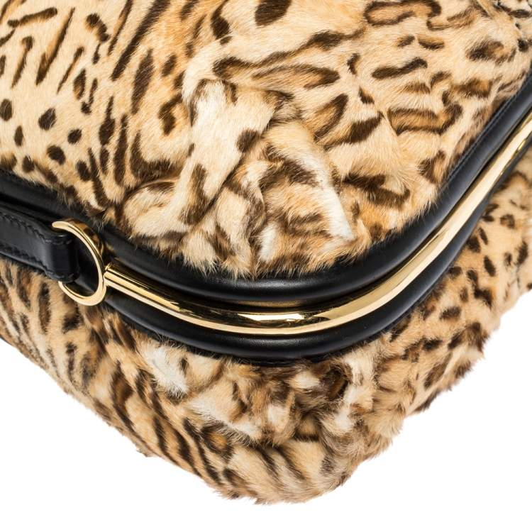 Jimmy Choo Brown/Black Leopard Print Calfhair and Leather Alex Hobo