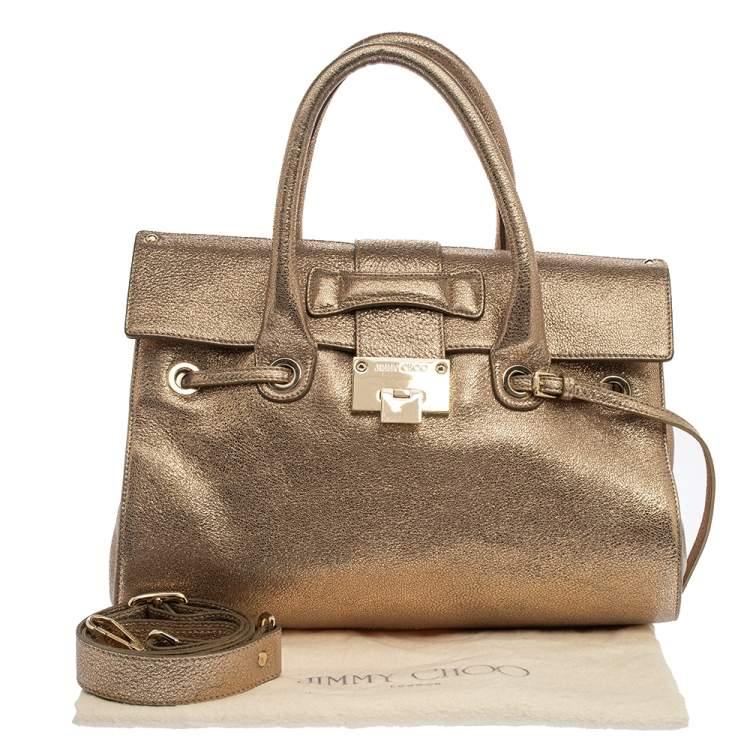 Jimmy Choo Metallic Gold Crinkled Leather Rosalie Satchel