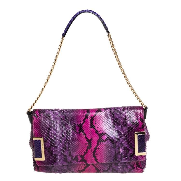 Jimmy Choo Multicolor Python Flap Chain Shoulder Bag