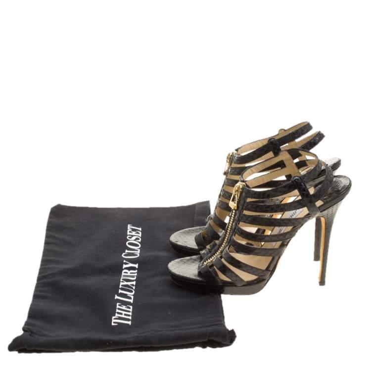 Jimmy Choo Black Python Glenys Gladiator Platform Sandals Size 39
