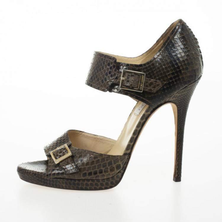 Jimmy Choo Brown Python Quaker Buckle Sandals Size 40