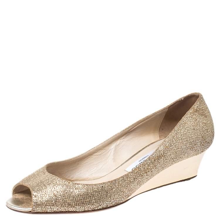 Jimmy Choo Gold Glitter Fabric Bergen