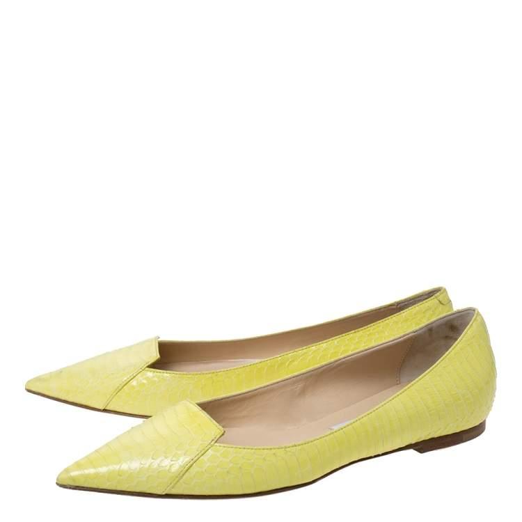 Jimmy Choo Yellow Python Pointed Toe