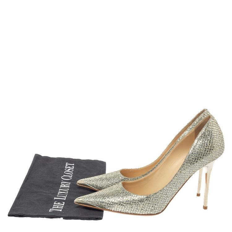 Jimmy Choo Metallic Champagne Lamé Glitter Fabric Abel Pointed Toe Pumps Size 39.5