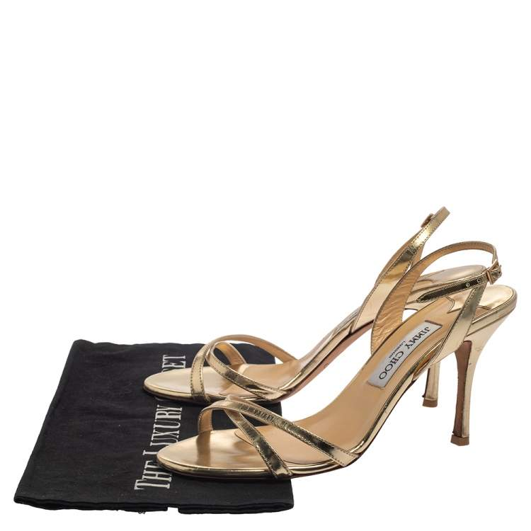 Jimmy Choo Gold Leather India Slingback Sandals Size 39.5