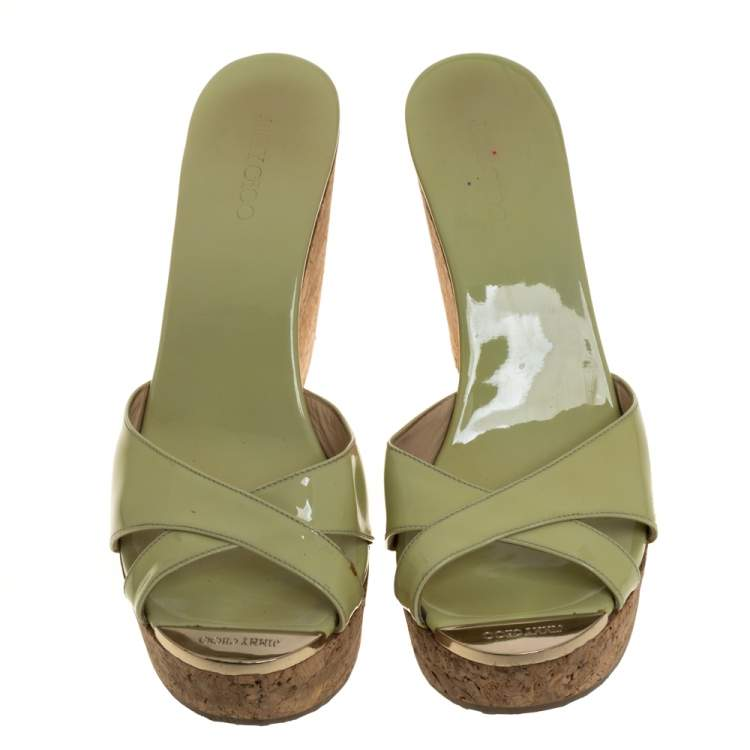 Jimmy Choo Green Patent Leather Perfume Cork Wedge Slide Sandals Size 41