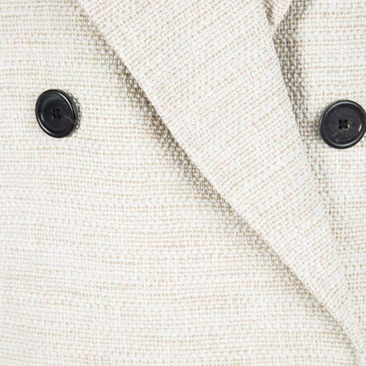 Joseph Beige Stone Summer Tweed Double Breasted Maubert Coat L