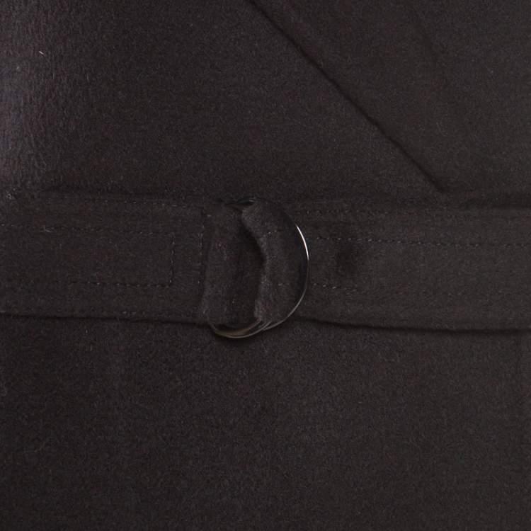 Joseph Black Cashmere Wool New Lima Belted Wrap Coat S