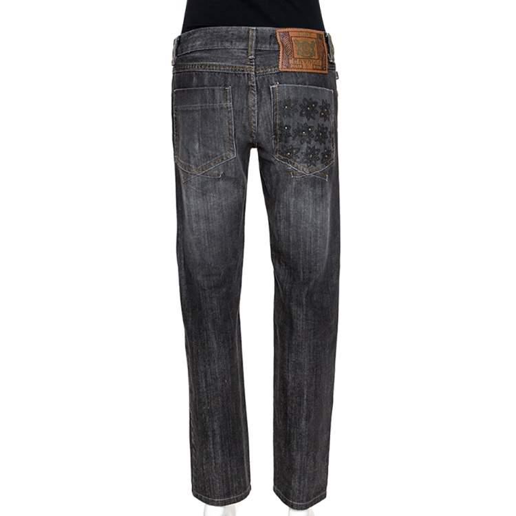 Just Cavalli Black Medium Wash Denim Straight Leg Jeans M