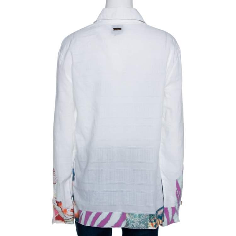 Just Cavalli White Textured Cotton Printed Trim Tunic Top M